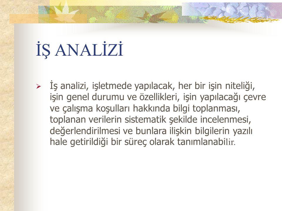 İŞ ANALİZİ