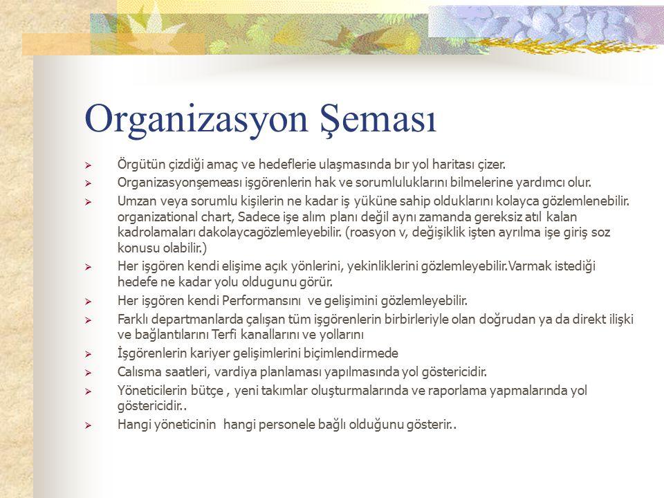 Organizasyon Şeması Örgütün çizdiği amaç ve hedeflerie ulaşmasında bır yol haritası çizer.