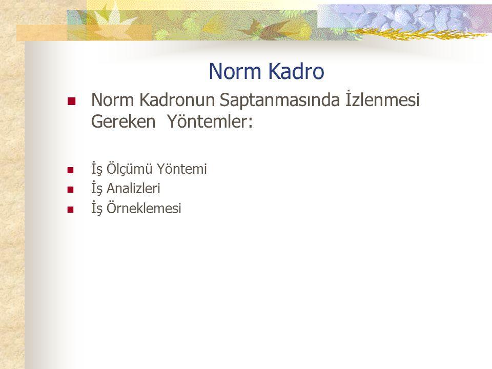 Norm Kadro Norm Kadronun Saptanmasında İzlenmesi Gereken Yöntemler: