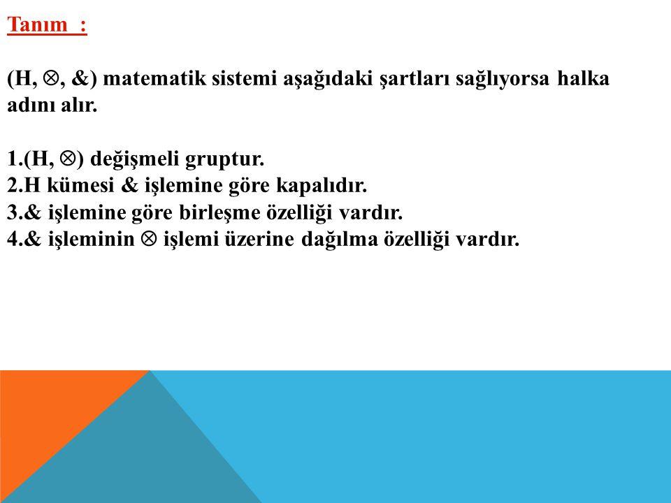 Tanım : (H, , &) matematik sistemi aşağıdaki şartları sağlıyorsa halka. adını alır. (H, ) değişmeli gruptur.