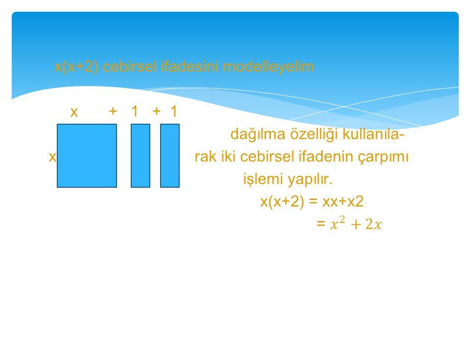 x(x+2) cebirsel ifadesini modelleyelim
