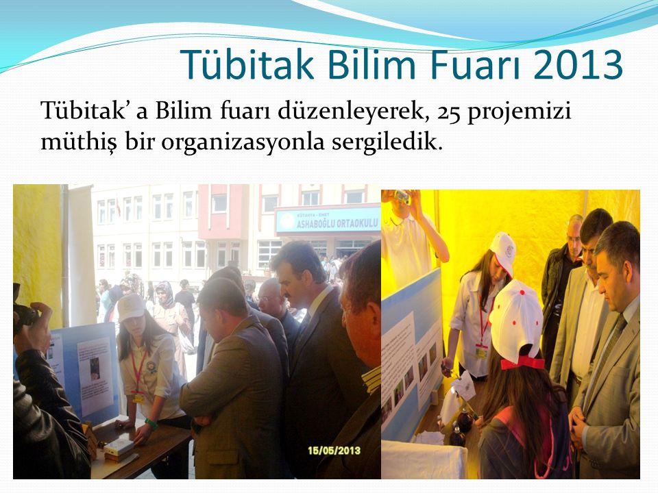 Tübitak Bilim Fuarı 2013 Tübitak' a Bilim fuarı düzenleyerek, 25 projemizi müthiş bir organizasyonla sergiledik.