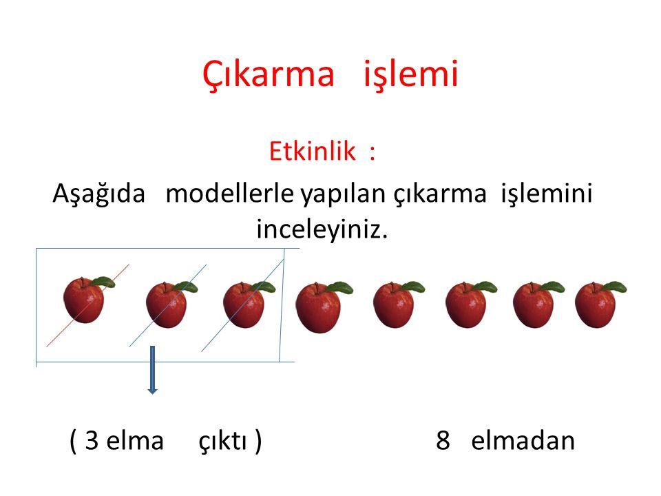 Aşağıda modellerle yapılan çıkarma işlemini inceleyiniz.