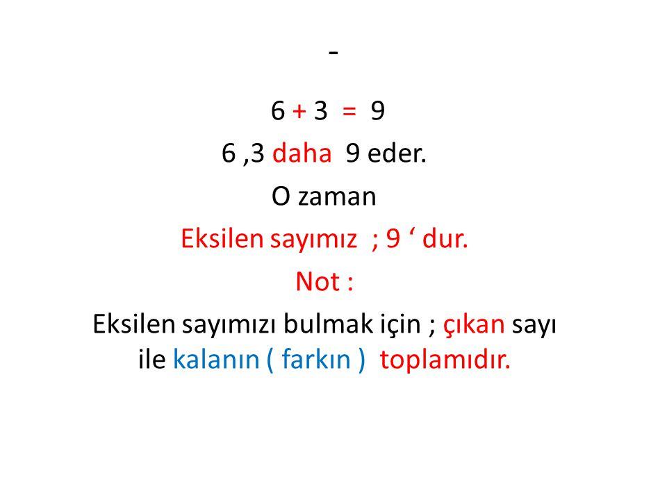 - 6 + 3 = 9 6 ,3 daha 9 eder. O zaman Eksilen sayımız ; 9 ' dur. Not :