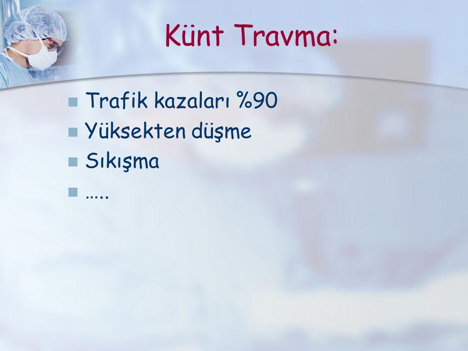 Künt Travma: Trafik kazaları %90 Yüksekten düşme Sıkışma …..