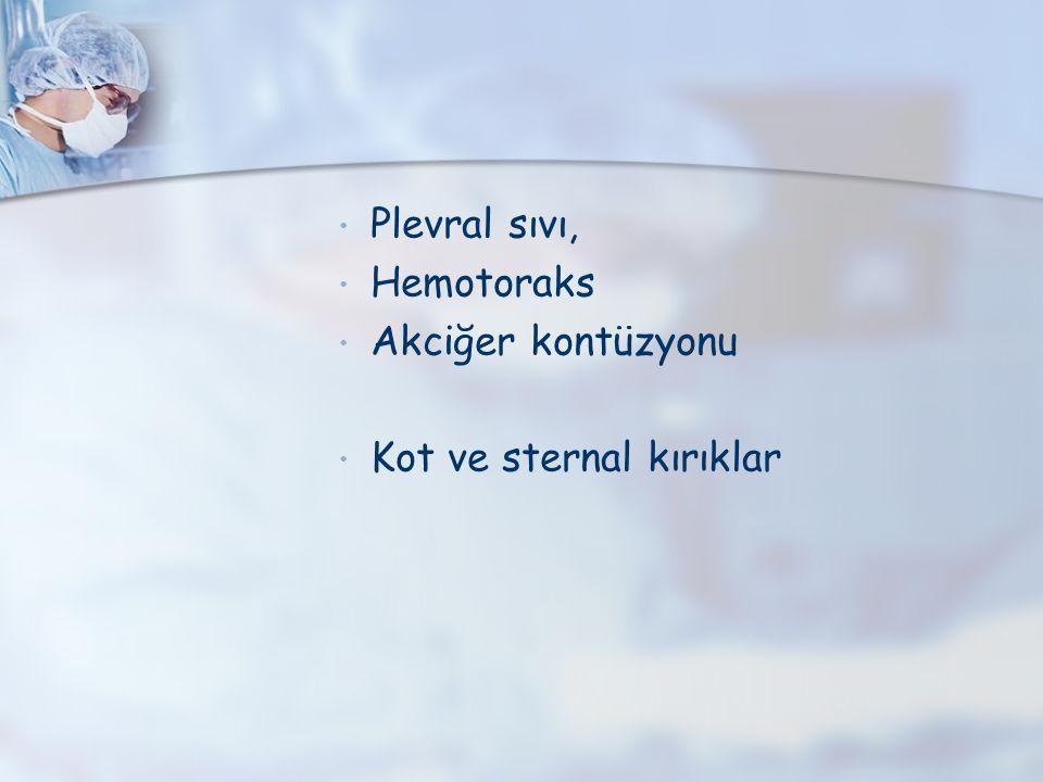 Plevral sıvı, Hemotoraks Akciğer kontüzyonu Kot ve sternal kırıklar