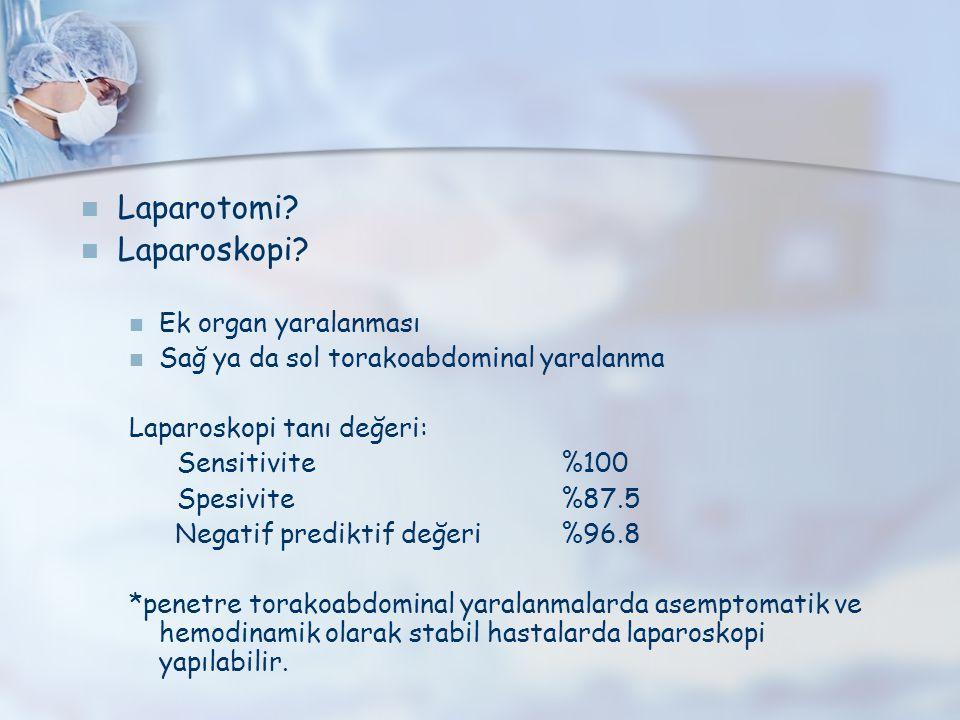 Laparotomi Laparoskopi Ek organ yaralanması
