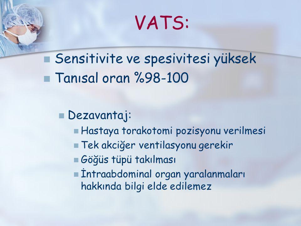 VATS: Sensitivite ve spesivitesi yüksek Tanısal oran %98-100