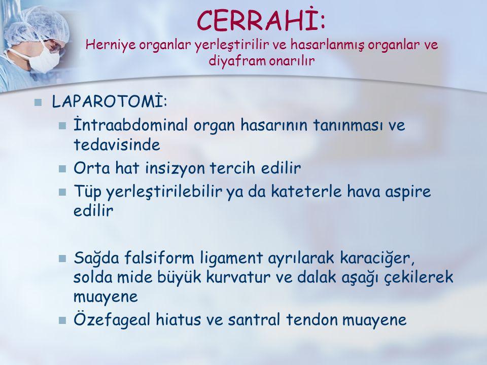 CERRAHİ: Herniye organlar yerleştirilir ve hasarlanmış organlar ve diyafram onarılır