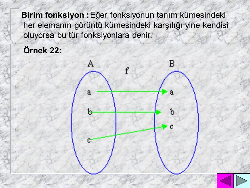 Birim fonksiyon : Eğer fonksiyonun tanım kümesindeki her elemanın görüntü kümesindeki karşılığı yine kendisi oluyorsa bu tür fonksiyonlara denir.