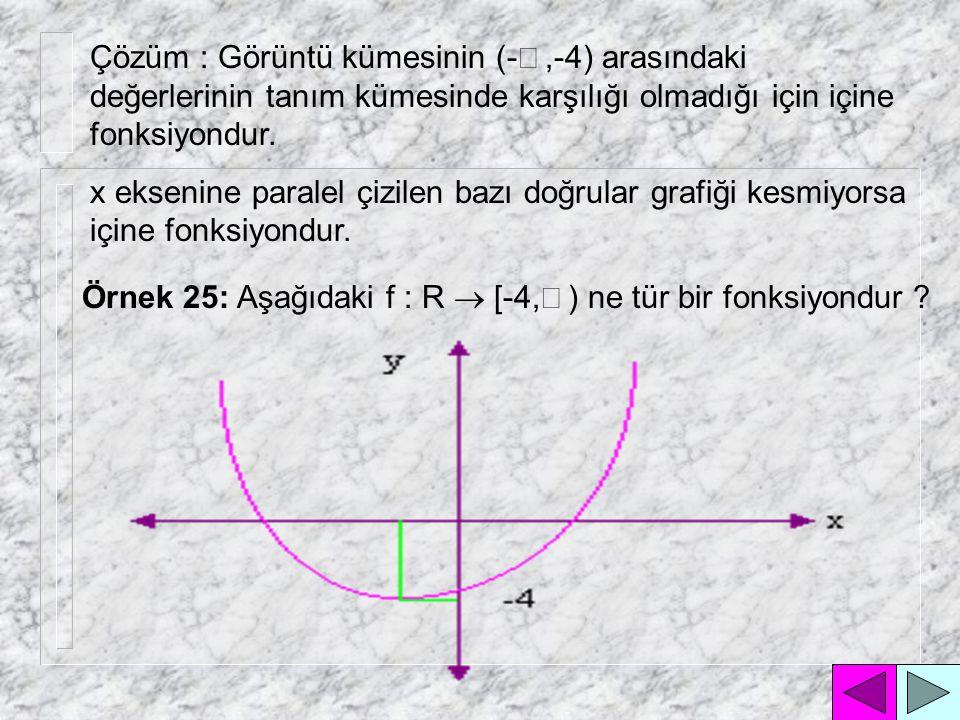 Çözüm : Görüntü kümesinin (-¥ ,-4) arasındaki değerlerinin tanım kümesinde karşılığı olmadığı için içine fonksiyondur.