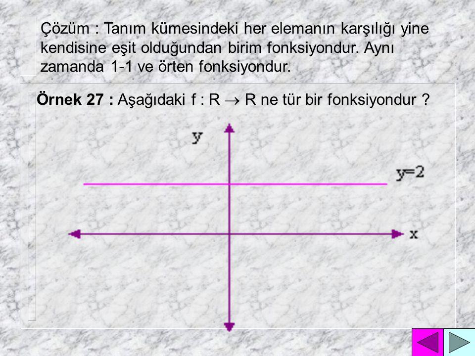 Çözüm : Tanım kümesindeki her elemanın karşılığı yine kendisine eşit olduğundan birim fonksiyondur. Aynı zamanda 1-1 ve örten fonksiyondur.