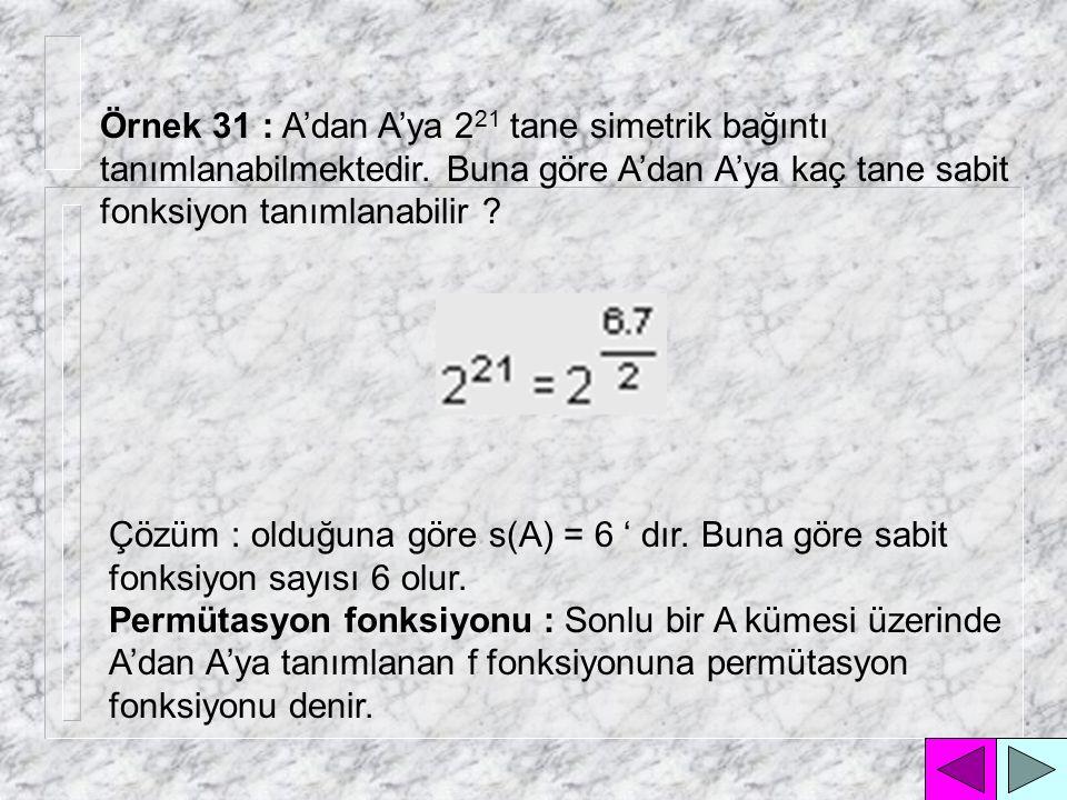 Örnek 31 : A'dan A'ya 221 tane simetrik bağıntı tanımlanabilmektedir
