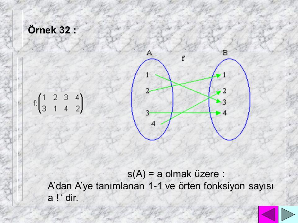 Örnek 32 : s(A) = a olmak üzere : A'dan A'ye tanımlanan 1-1 ve örten fonksiyon sayısı a ! ' dir.