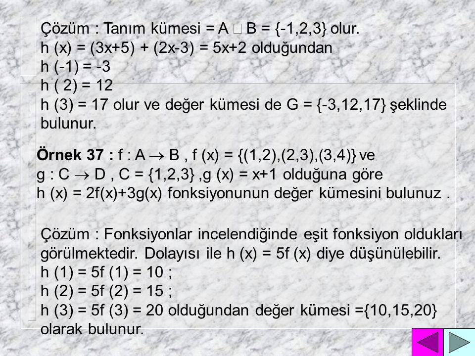 Çözüm : Tanım kümesi = A Ç B = {-1,2,3} olur.