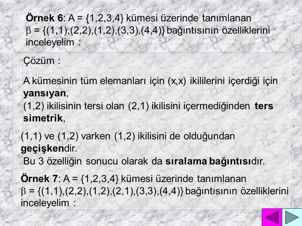 Örnek 6: A = {1,2,3,4} kümesi üzerinde tanımlanan