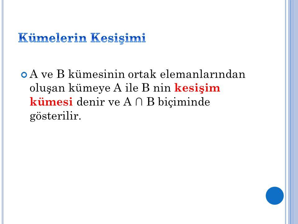 Kümelerin Kesişimi A ve B kümesinin ortak elemanlarından oluşan kümeye A ile B nin kesişim kümesi denir ve A ∩ B biçiminde gösterilir.