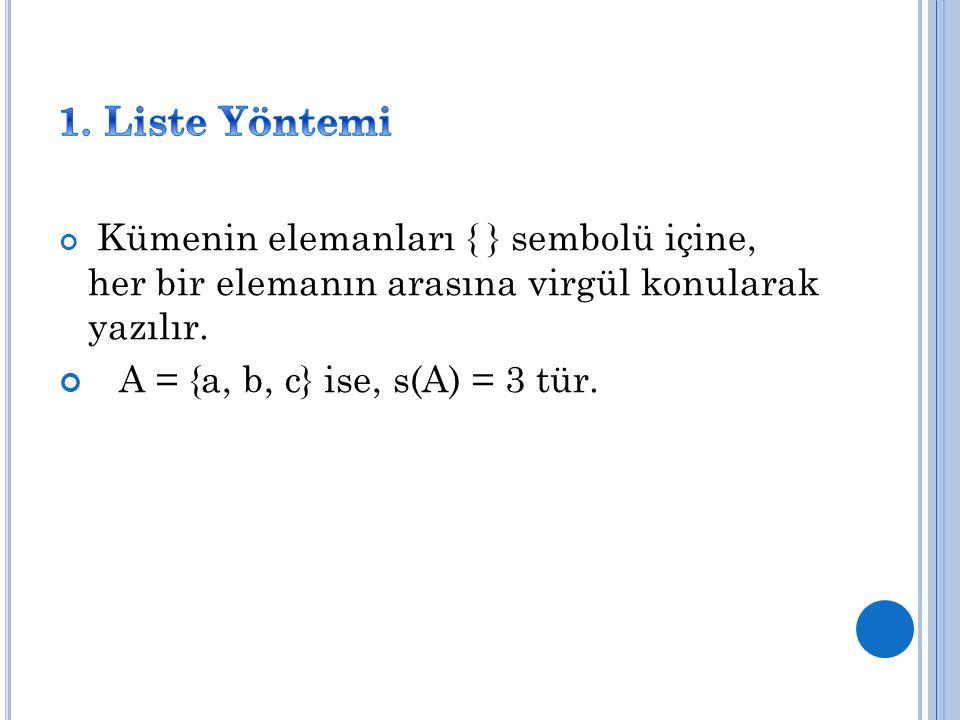 1. Liste Yöntemi A = {a, b, c} ise, s(A) = 3 tür.