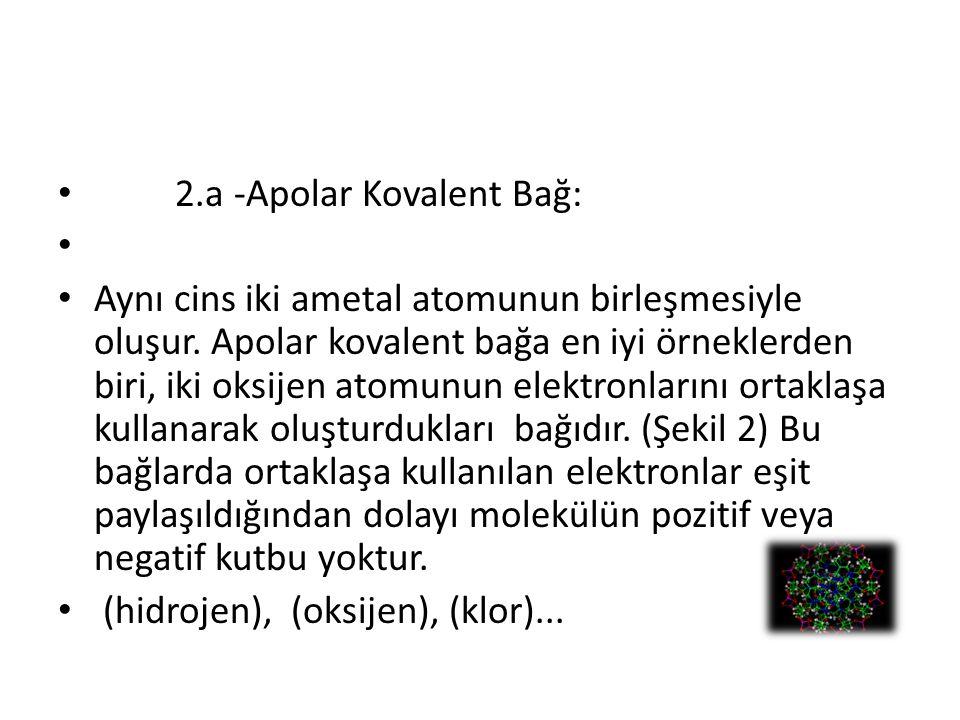 2.a -Apolar Kovalent Bağ: