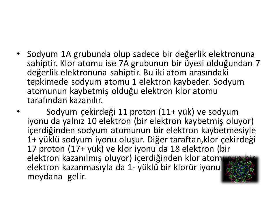 Sodyum 1A grubunda olup sadece bir değerlik elektronuna sahiptir
