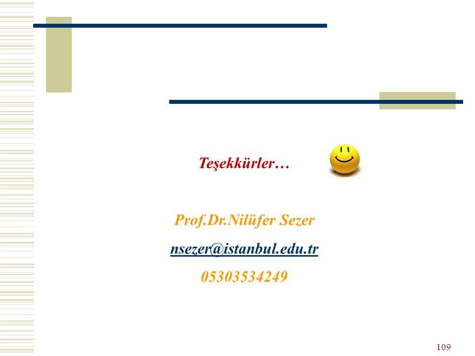 Teşekkürler… Prof.Dr.Nilüfer Sezer nsezer@istanbul.edu.tr 05303534249