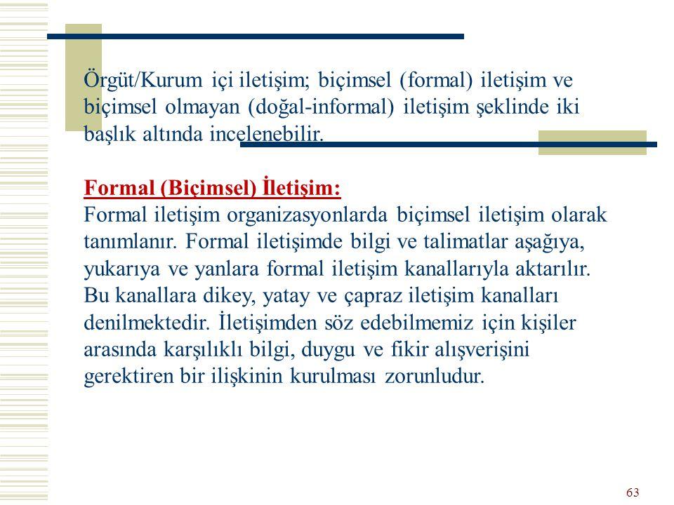 Örgüt/Kurum içi iletişim; biçimsel (formal) iletişim ve biçimsel olmayan (doğal-informal) iletişim şeklinde iki başlık altında incelenebilir.