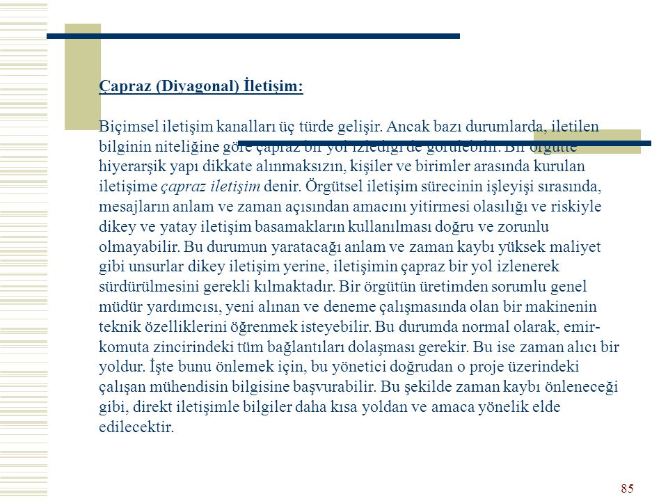 Çapraz (Diyagonal) İletişim: