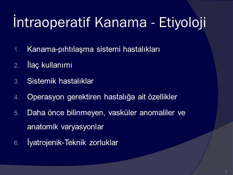 İntraoperatif Kanama - Etiyoloji