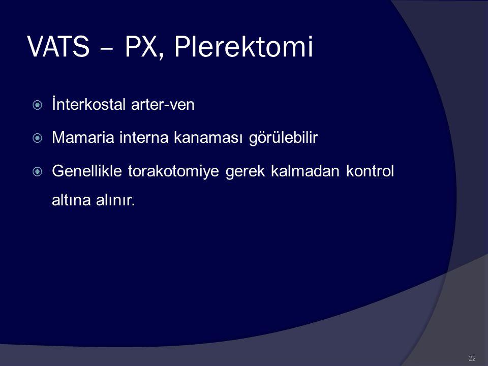 VATS – PX, Plerektomi İnterkostal arter-ven