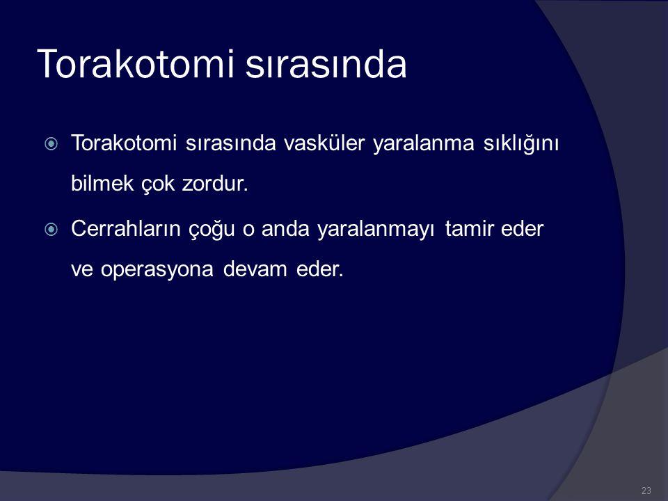 Torakotomi sırasında Torakotomi sırasında vasküler yaralanma sıklığını bilmek çok zordur.