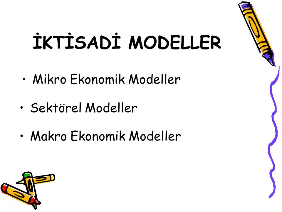 İKTİSADİ MODELLER Mikro Ekonomik Modeller Sektörel Modeller