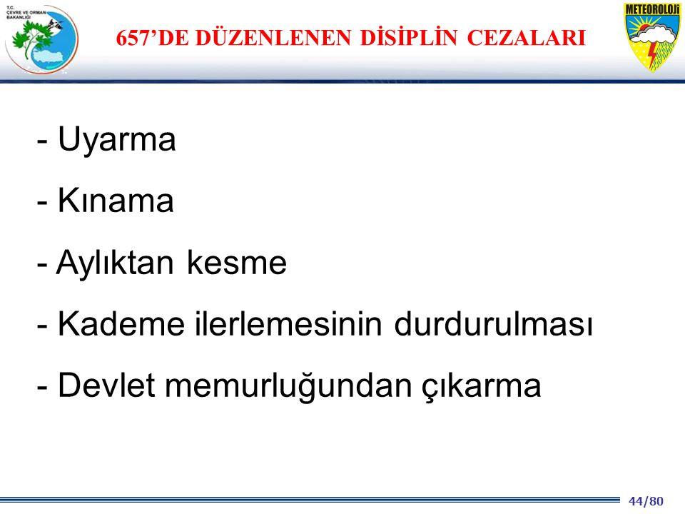 657'DE DÜZENLENEN DİSİPLİN CEZALARI