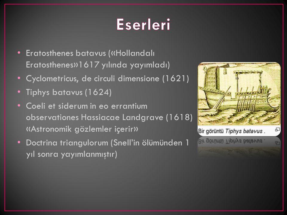 Eserleri Eratosthenes batavus («Hollandalı Eratosthenes»1617 yılında yayımladı) Cyclometricus, de circuli dimensione (1621)