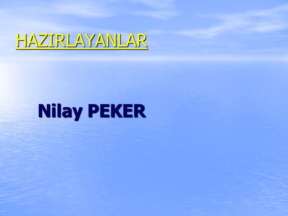 HAZIRLAYANLAR Nilay PEKER