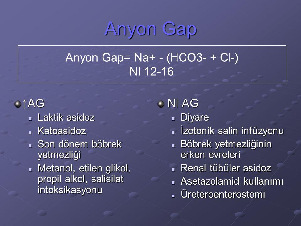 Anyon Gap= Na+ - (HCO3- + Cl-)