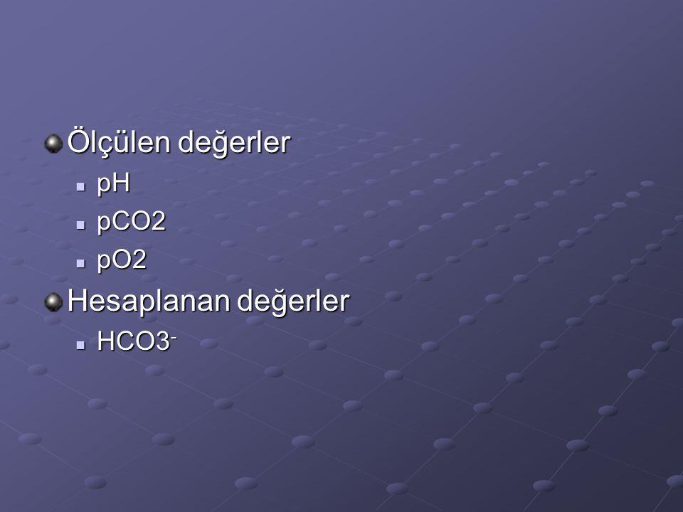 Ölçülen değerler pH pCO2 pO2 Hesaplanan değerler HCO3-