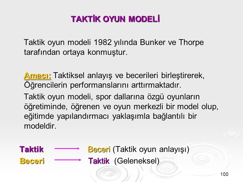 TAKTİK OYUN MODELİ Taktik oyun modeli 1982 yılında Bunker ve Thorpe tarafından ortaya konmuştur.