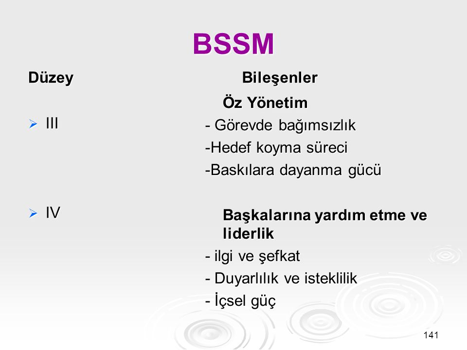 BSSM Düzey Bileşenler Öz Yönetim - Görevde bağımsızlık
