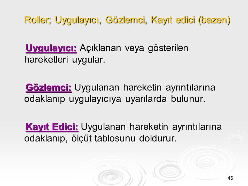 Roller; Uygulayıcı, Gözlemci, Kayıt edici (bazen)