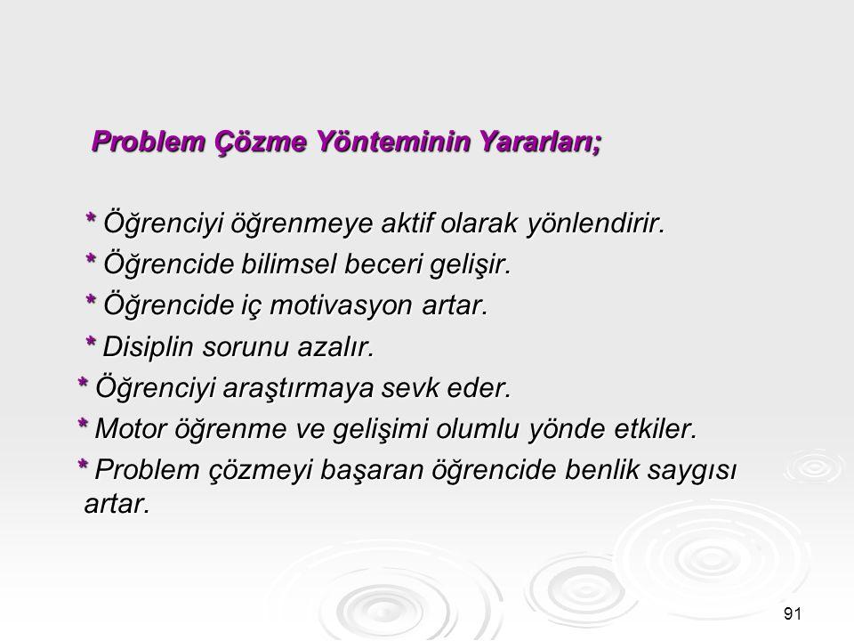 Problem Çözme Yönteminin Yararları;