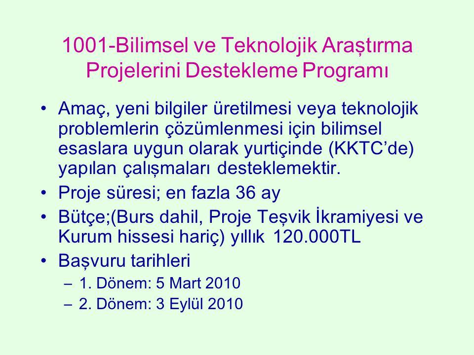 1001-Bilimsel ve Teknolojik Araştırma Projelerini Destekleme Programı
