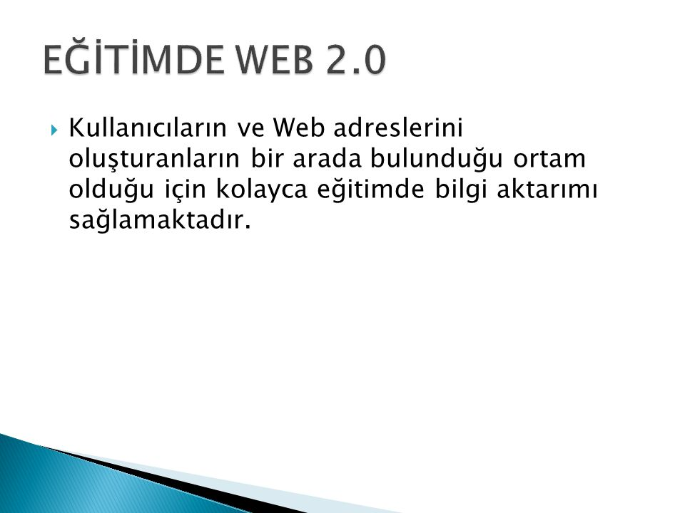 EĞİTİMDE WEB 2.0