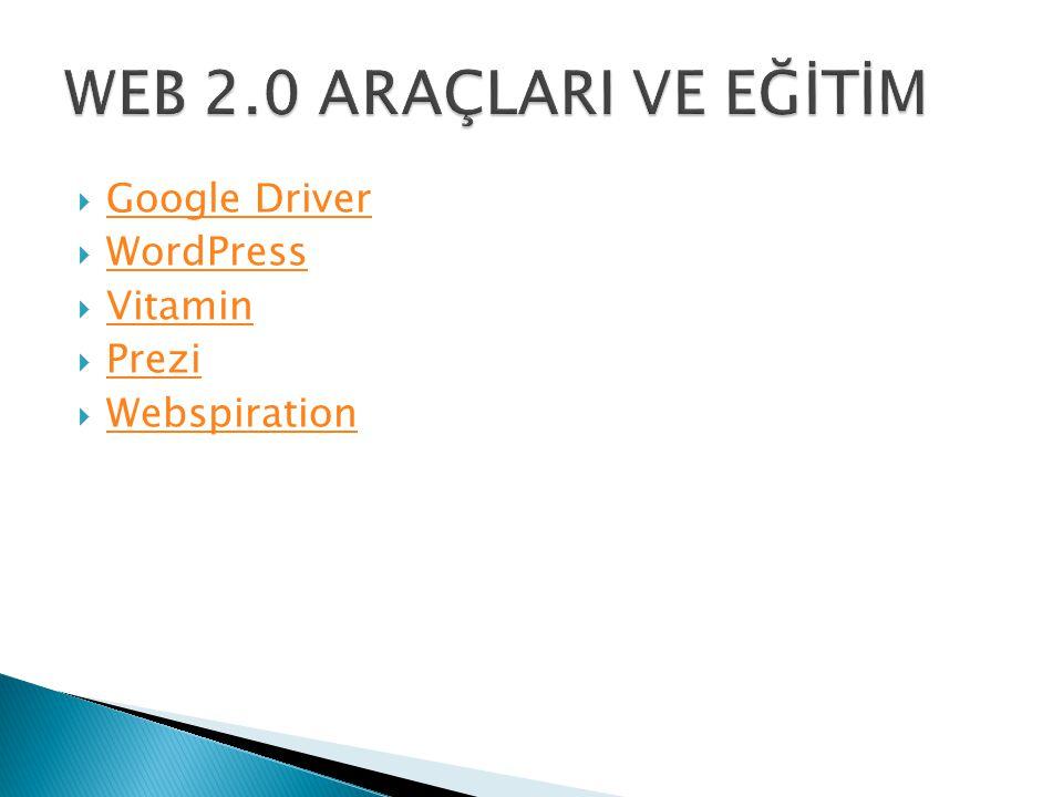 WEB 2.0 ARAÇLARI VE EĞİTİM Google Driver WordPress Vitamin Prezi