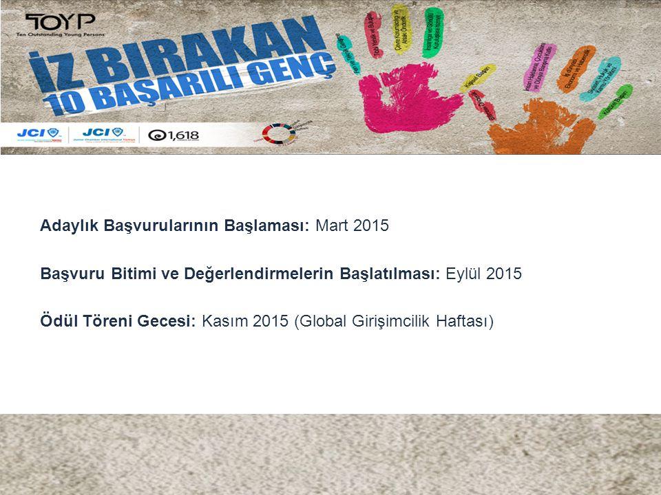 Adaylık Başvurularının Başlaması: Mart 2015 Başvuru Bitimi ve Değerlendirmelerin Başlatılması: Eylül 2015 Ödül Töreni Gecesi: Kasım 2015 (Global Girişimcilik Haftası)