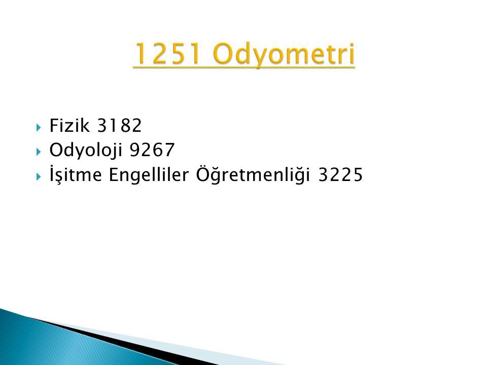 1251 Odyometri Fizik 3182 Odyoloji 9267