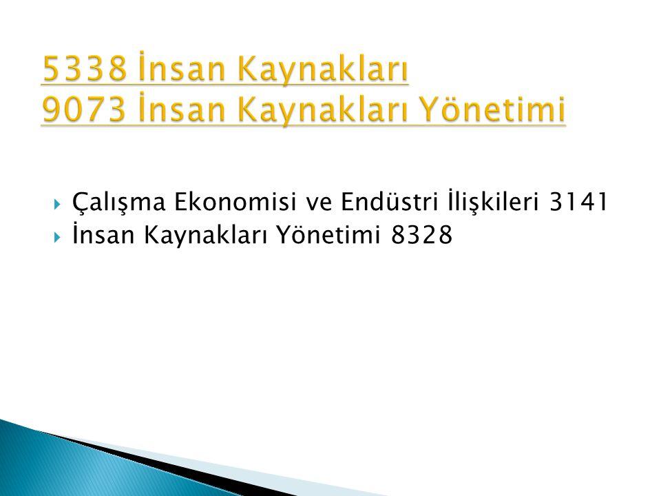 5338 İnsan Kaynakları 9073 İnsan Kaynakları Yönetimi
