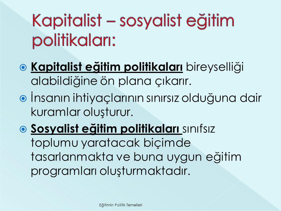 Kapitalist – sosyalist eğitim politikaları: