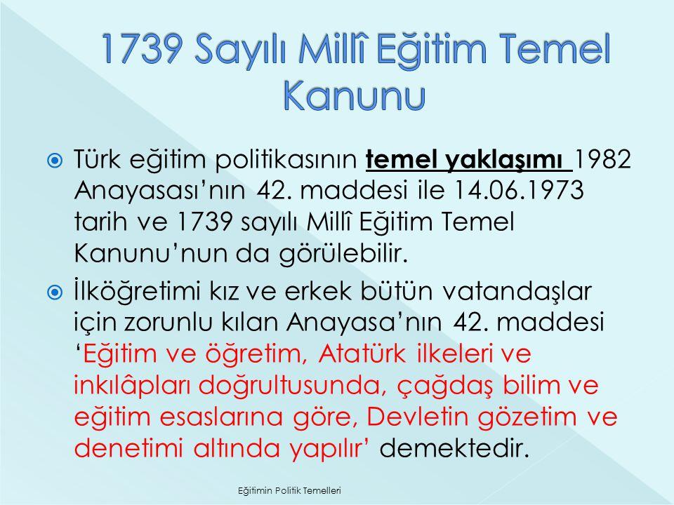 1739 Sayılı Millî Eğitim Temel Kanunu
