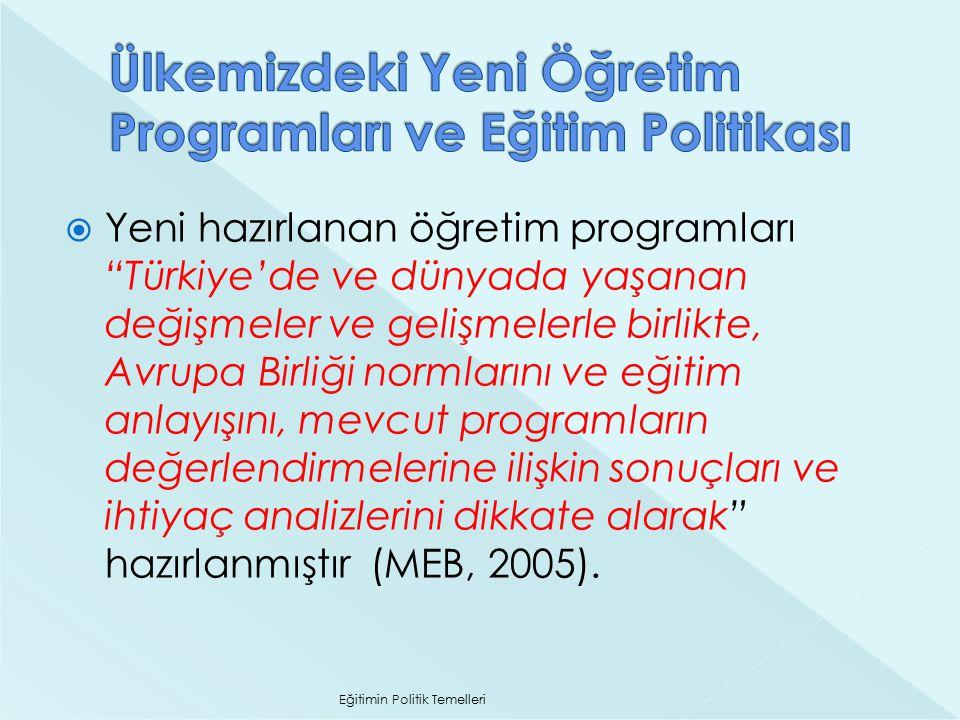 Ülkemizdeki Yeni Öğretim Programları ve Eğitim Politikası