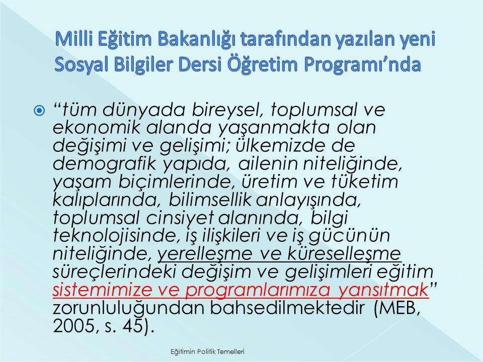 Milli Eğitim Bakanlığı tarafından yazılan yeni Sosyal Bilgiler Dersi Öğretim Programı'nda